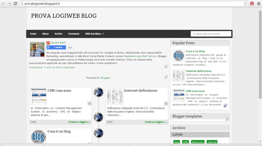 Nuovo tema caricato blogger
